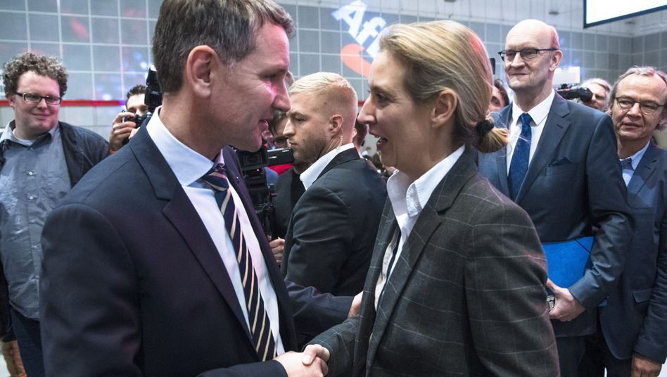 Björn Höcke and Alice Weidel at an AfD party conference in Hannover, Germany