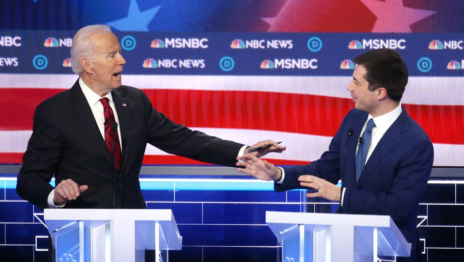 """Joe Biden und Pete Buttigieg (am 19. Februar): """"eine Politik, in der es um Anstand geht"""""""
