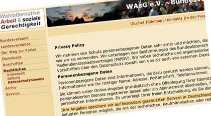 Screenshot von der WASG-Homepage (Hervorhebung von SPIEGEL ONLINE)