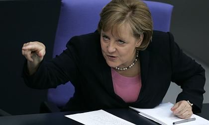 Merkel ramming home a point during a session in parliament last week.