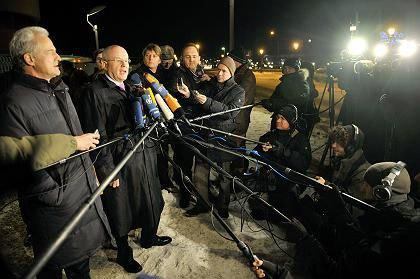 Volker Kauder, the parliamentary floor leader of the conservative Christian Democrats, talking to the press on Monday night.