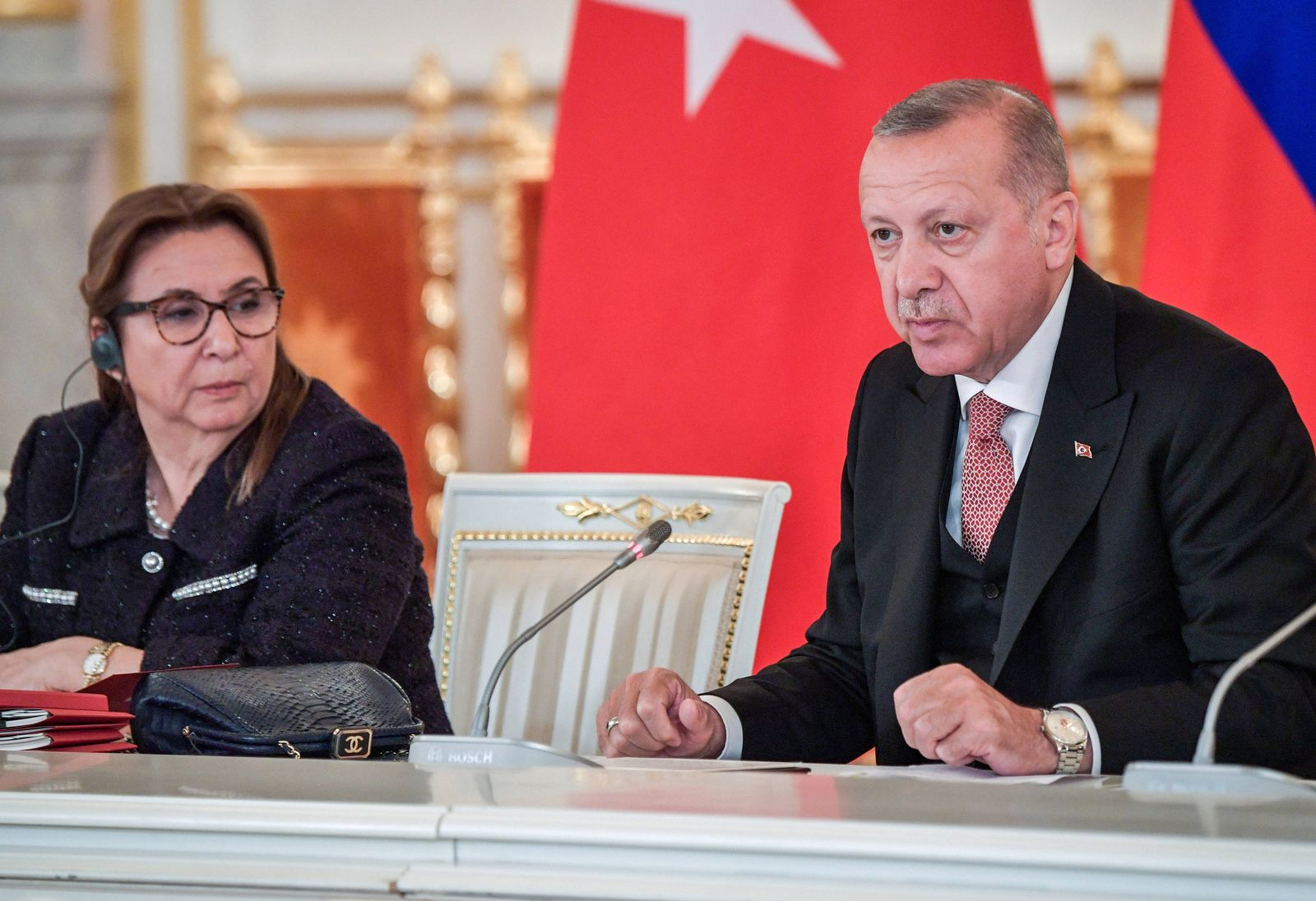 MOSCOW RUSSIA APRIL 8 2019 Turkey s Customs and Trade Minister Ruhsar Pekcan L and President