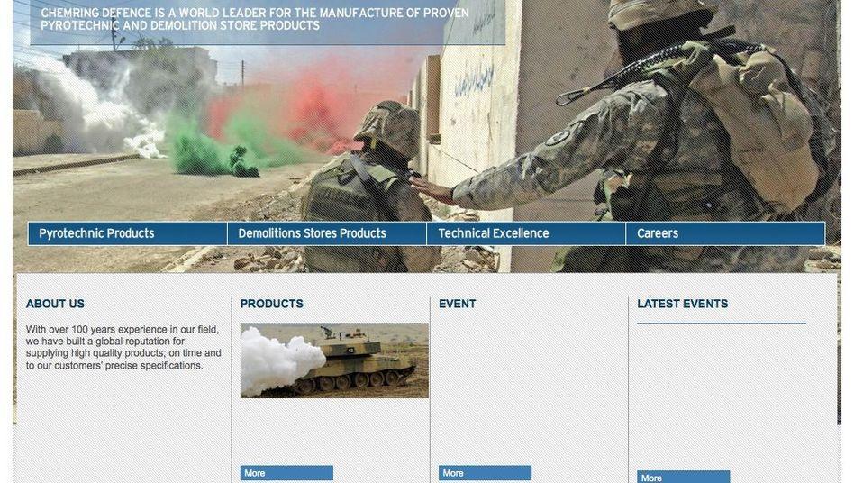 Webseite von Chemring Defence: Das Unternehmen hat eine Niederlassung in Bremerhaven