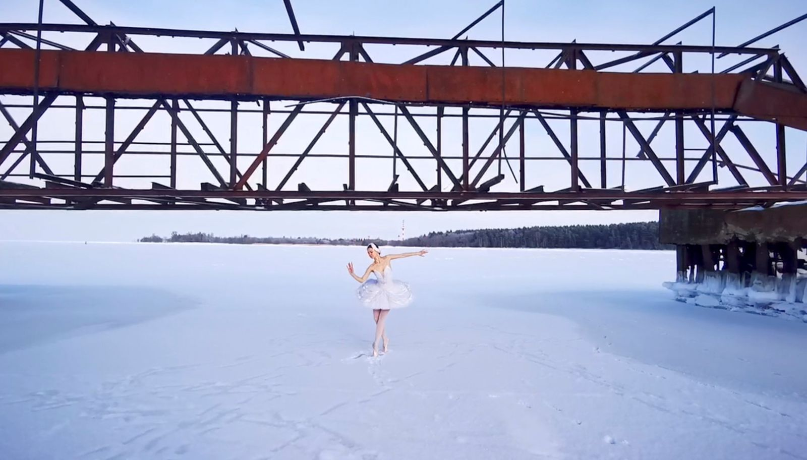 Ballet dancer Ilmira Bagautdinova performs on the ice of frozen Batareynaya Bay in Leningrad region