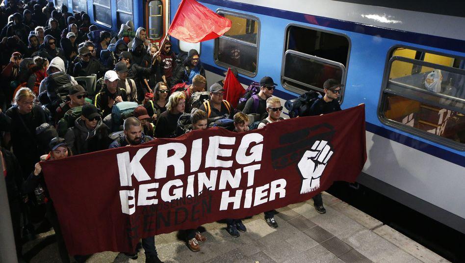 G-20-Aktivisten auf dem Hamburger Hauptbahnhof