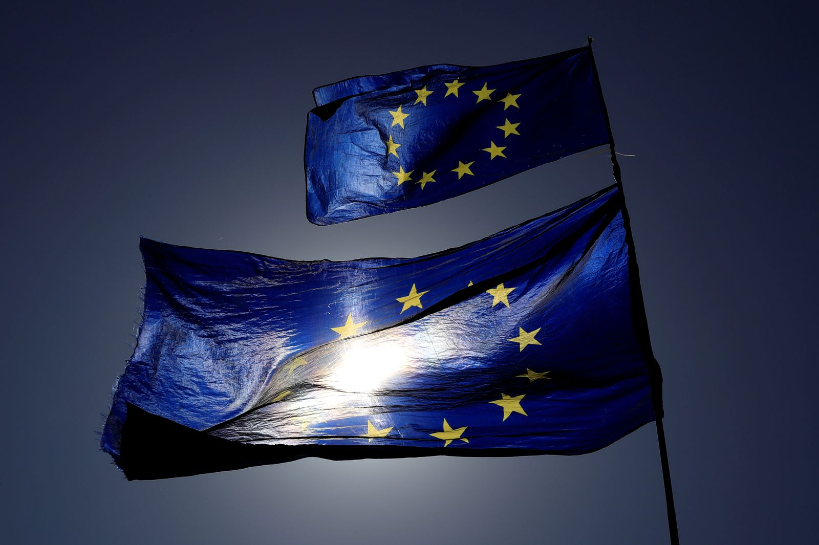 FILE PHOTO: European Union flags flutter as uncertainty over Brexit continues, in London