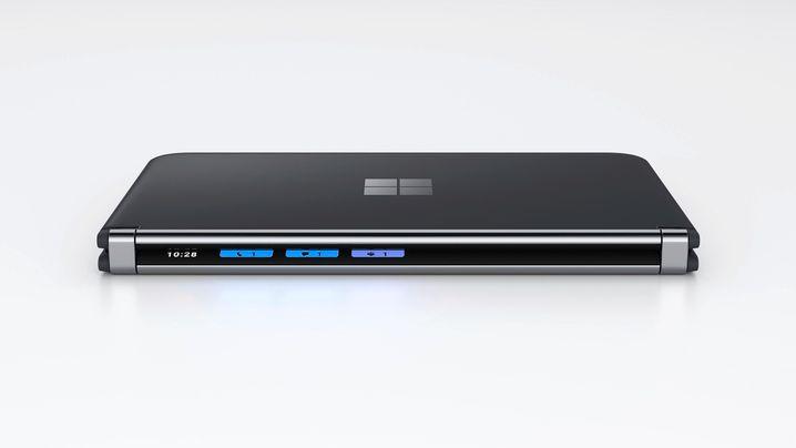 Selbst zusammengeklappt hat es noch einen kleinen Bildschirm: Das Surface Duo 2 mit Scharnier-Display