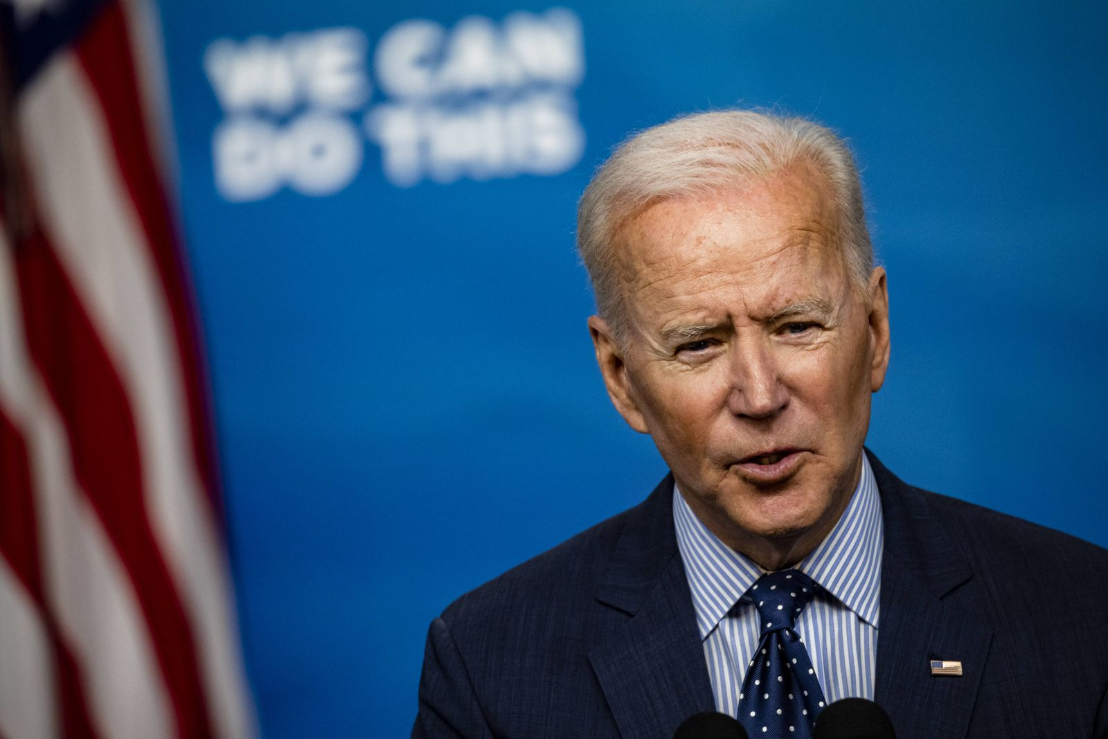 U.S. President Joe Biden speaks in the Eisenhower Executive Office Building in Washington, DC on Wednesday, June 2, 202