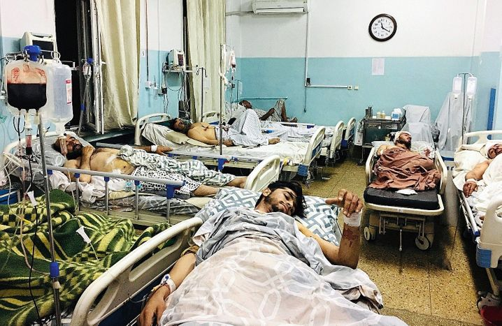 Victims of the Thursday bombing in a hospital in Kabul
