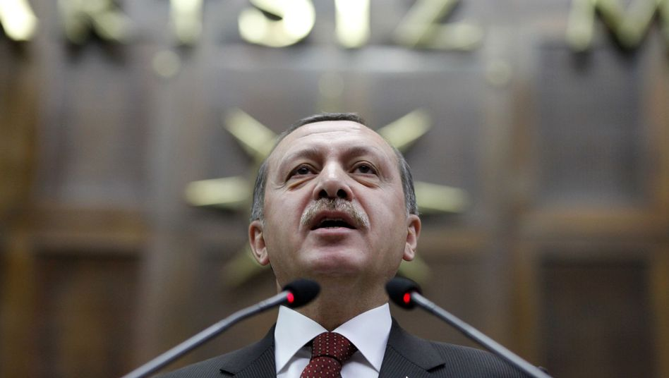 Turkish Prime Minister Recep Tayyip Erdogan addresses the Turkish parliament: Ankara is apparently trying to get people of Turkish descent to represent its interests abroad.