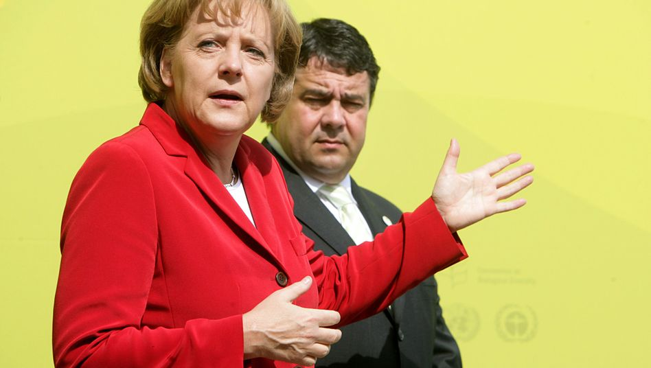Kontrahenten Merkel, Gabriel: