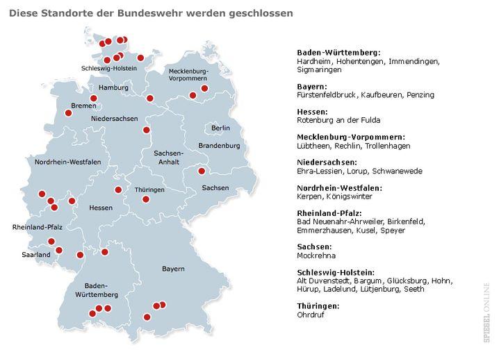 De Maizières Giftliste: Diese Standorte müssen schließen