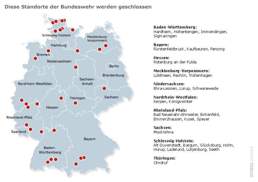 Karte - Geschlossene standorte der Bundeswehr