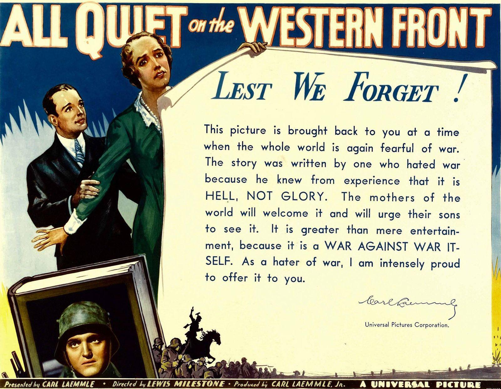 ALL QUIET ON THE WESTERN FRONT, bottom: Lew Ayres, 1930. Courtesy Everett Collection !ACHTUNG AUFNAHMEDATUM GESCH?TZT! P