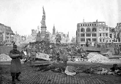Many of the thousands of dead were burned on the city's central square after the bombing raid.