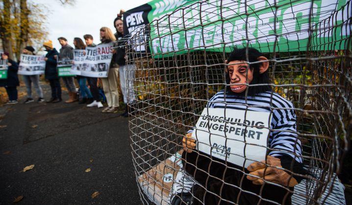 Protest von Tierschützern vor dem Gericht