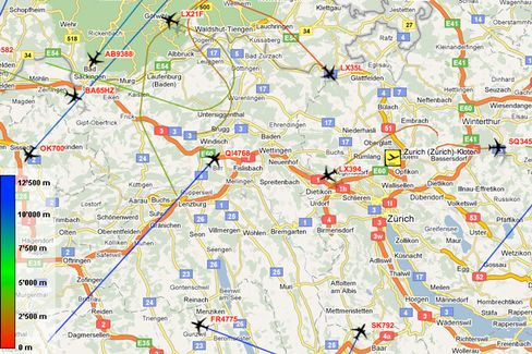 Flugbewegungen rund um Zürich: Eine Momentaufnahme der Echtzeit-Karte