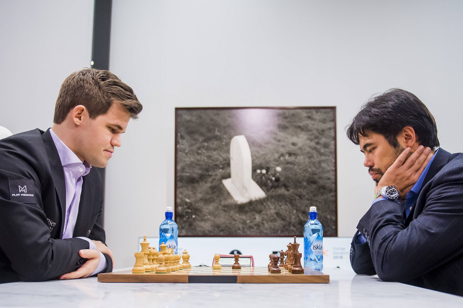 180209 Magnus Carlsen of Norway and Hikaru Nakamura of USA during the Fischer Random tournament on