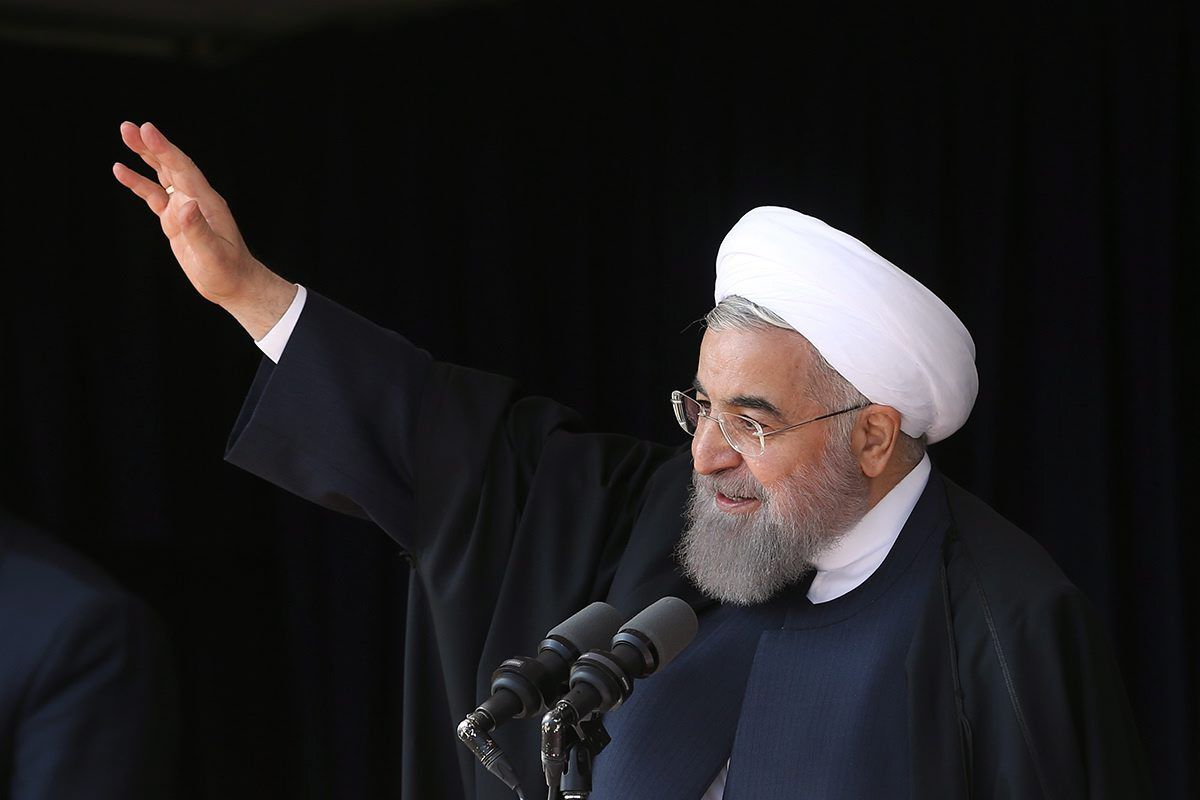 Iranian President Hassan Rouhani speaks in the chity of Arak