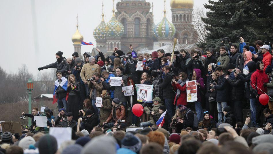 Regierungskritische Proteste in St. Petersburg am 26. März 2017