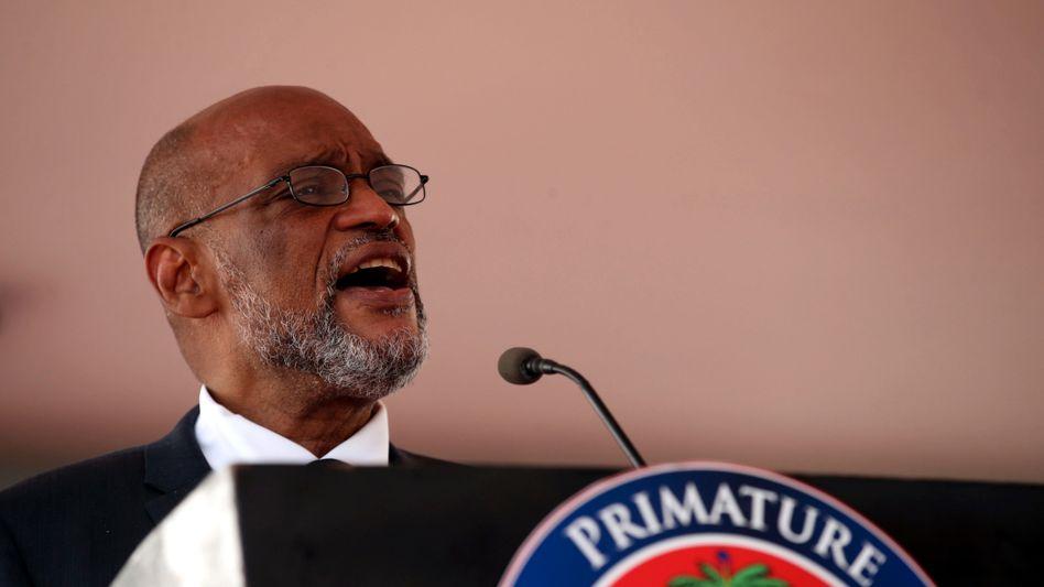 Haitis Premierminister Henry bei der Vereidigung der neuen Regierung am 20. Juli in Port-au-Prince