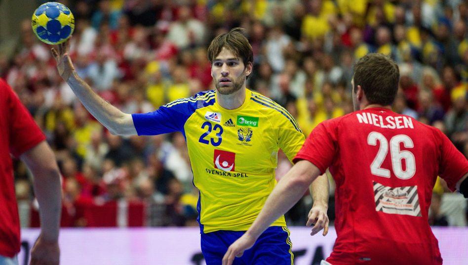 Fredrik Larsson im Jahr 2011 beim Spiel der Handball-WMin Schweden