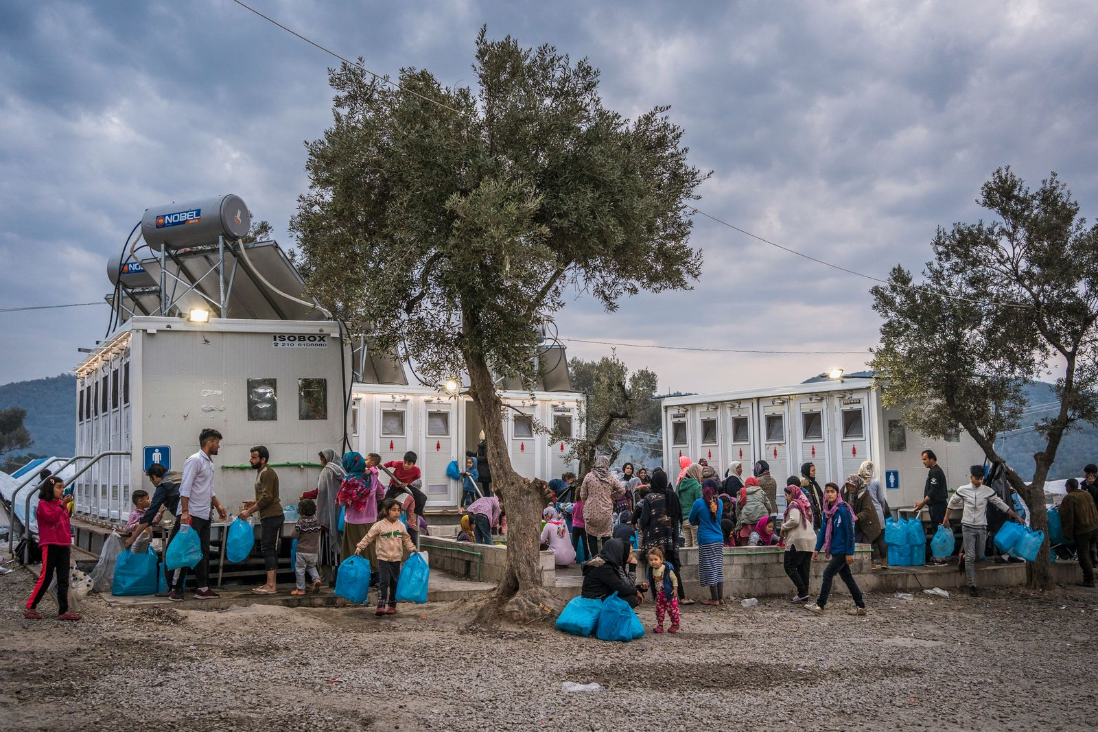 Greece, Lesbos, Kids in the biggest refugee camp in Europe