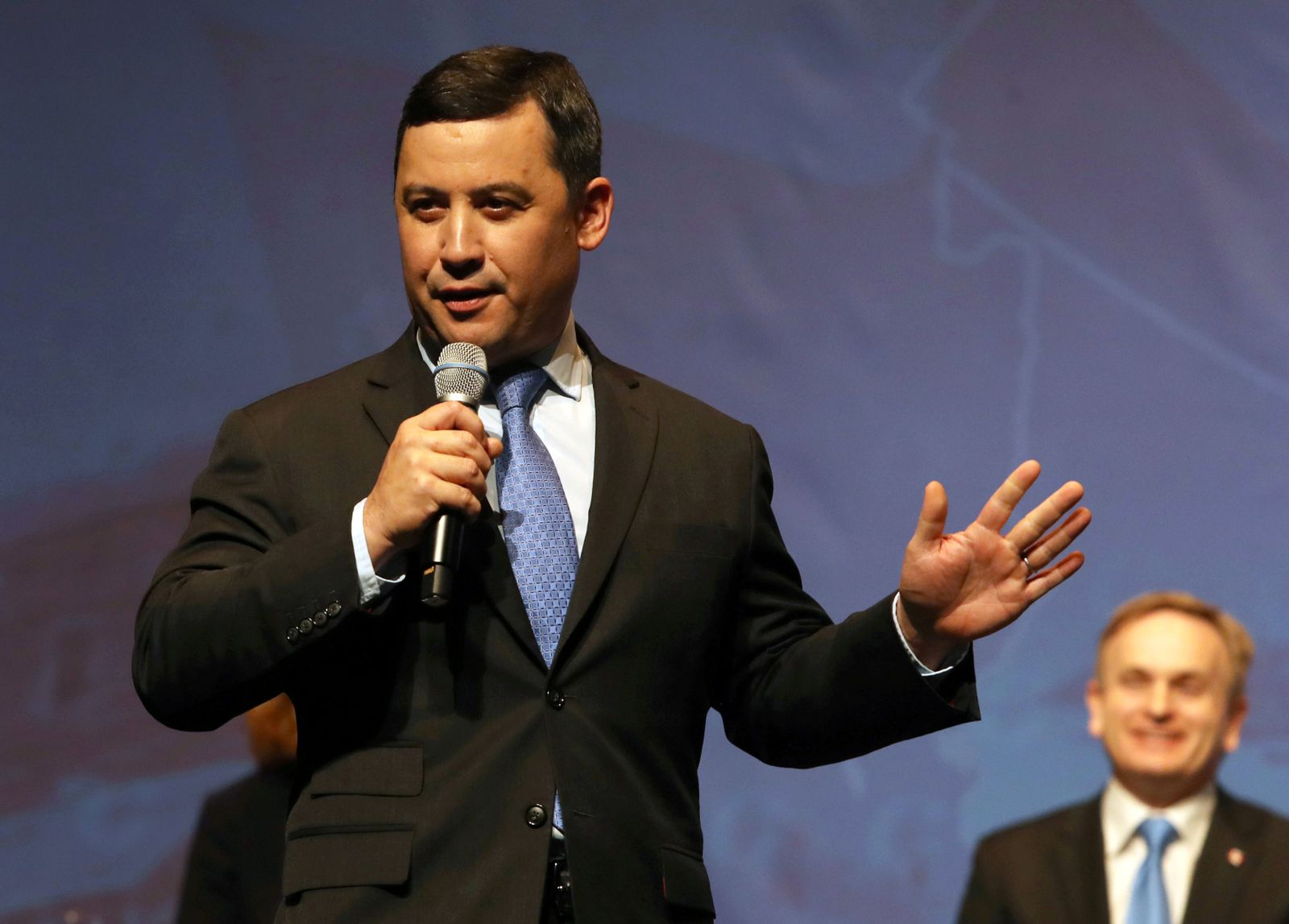 FILE PHOTO: Conservative Party Leadership candidate Michael Chong, addresses crowd at the Conservative Party of Canada's final televised debate.