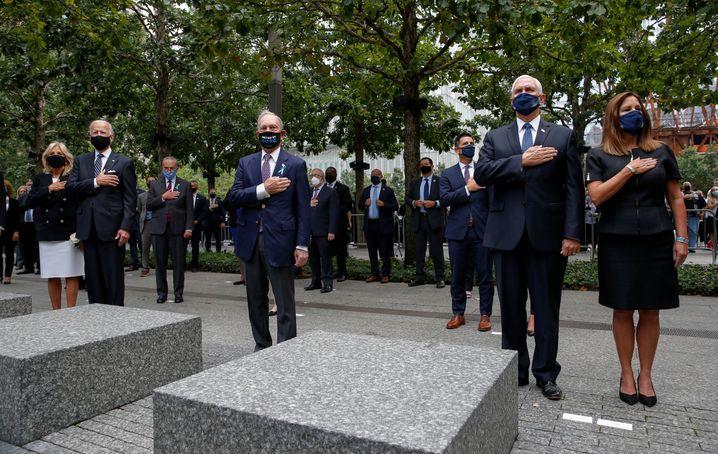 Zwei Tragödien, ein Gedenken: Joe Biden, Mike Bloomberg und Mike Pence am 9/11 Memorial in New York