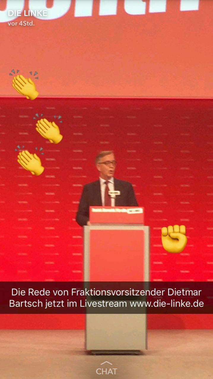 Dietmar Bartsch von der Linken auf Snapchat