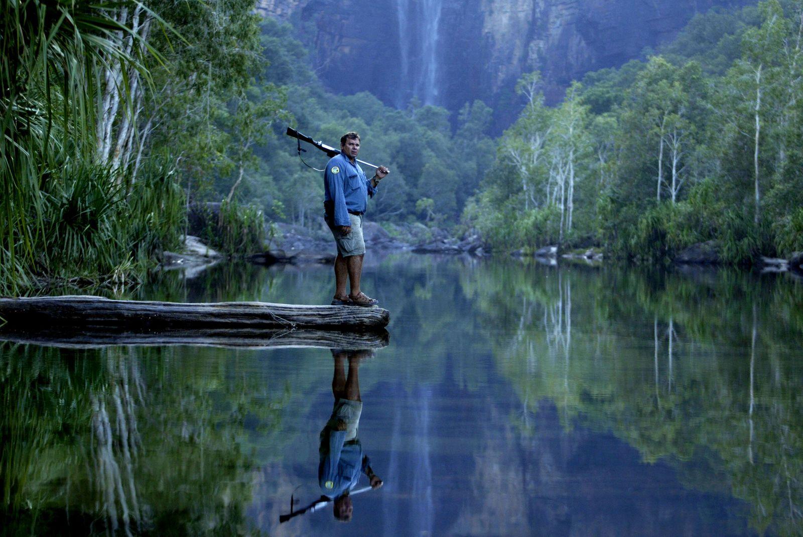 Kakadu park Ranger Garry Lindner at Jim Jim Falls, a popular tourist attraction