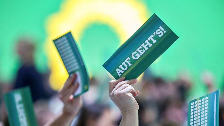 Abstimmung bei der Bundesdelegiertenkonferenz der Grünen (in Sachsen)