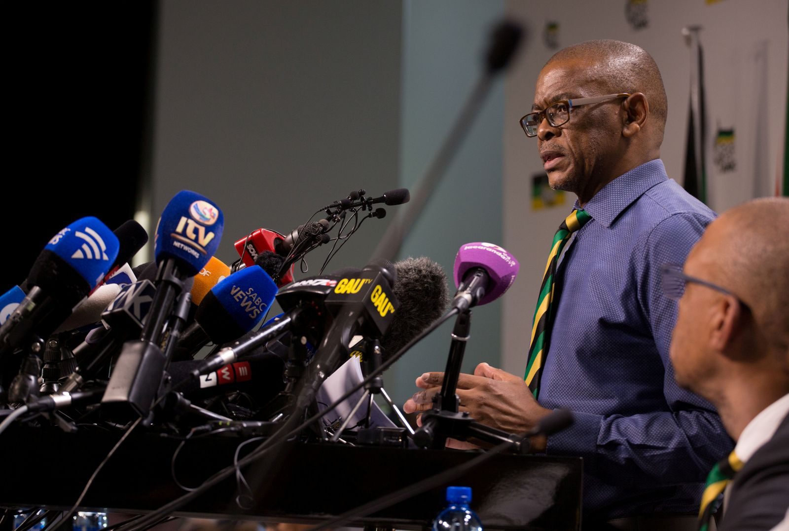 FILE PHOTO: African National Congress (ANC) Secretary-General Ace Magashule and members of the ANC National Executive Committee address a media conference in Johannesburg
