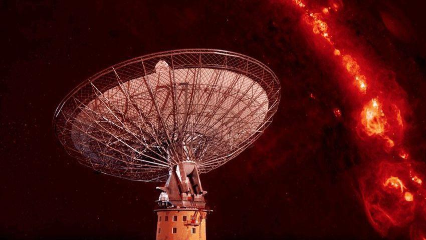 Schnelle Radioblitze am Nachthimmel (künstlerische Darstellung): Die Signale wurden vom Parkes-Radioteleskop gemessen