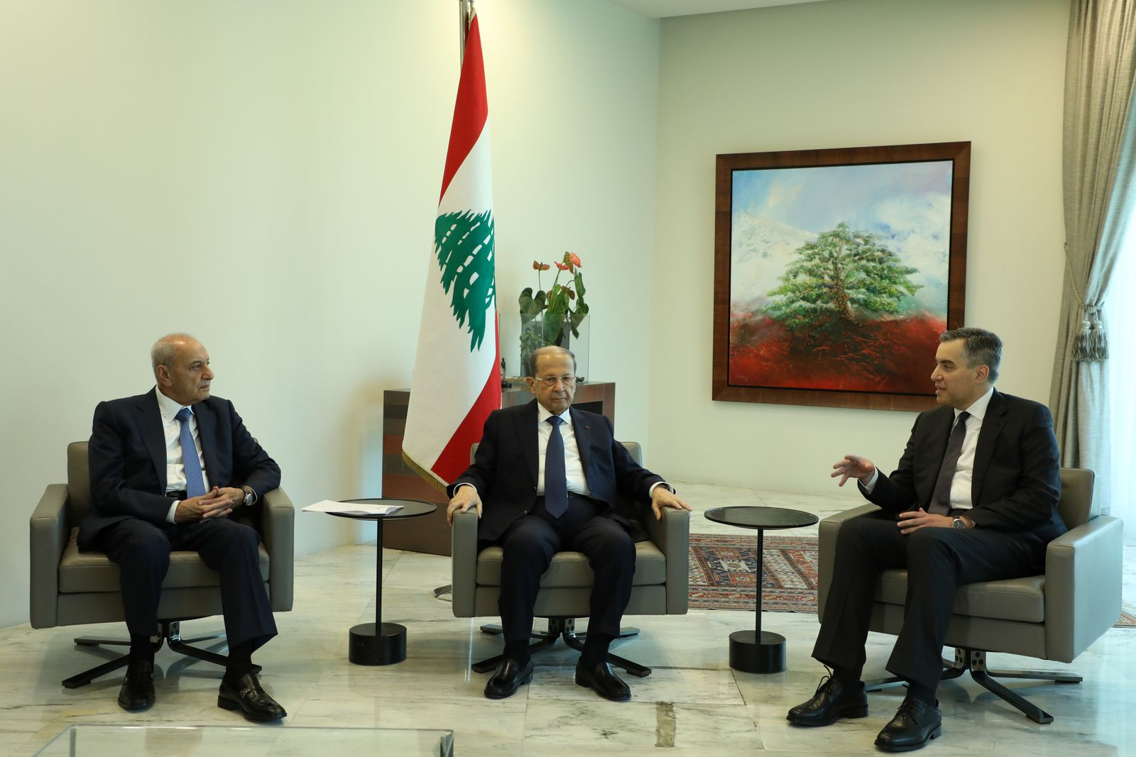 Designated Prime Minister Mustapha Adib, meets with Lebanon's President Michel Aoun and Lebanese Speaker of the Parliament Nabih Berri at the presidential palace in Baabda
