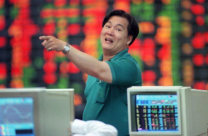 Asienkrise 1997 - Händler an der Börse in Bangkok