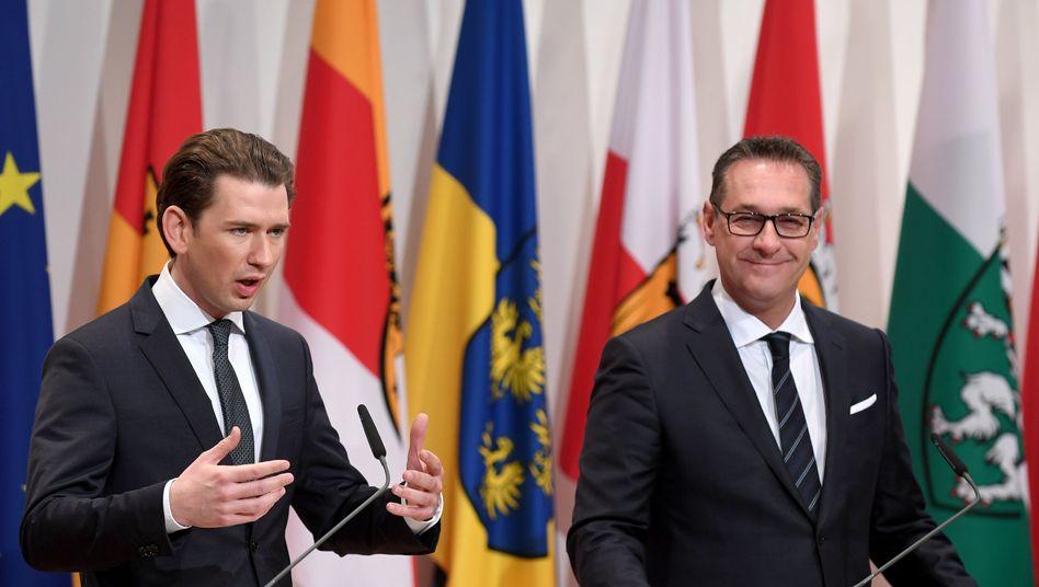Kanzler Sebastian Kurz (l.), Vizekanzler Heinz-Christian Strache