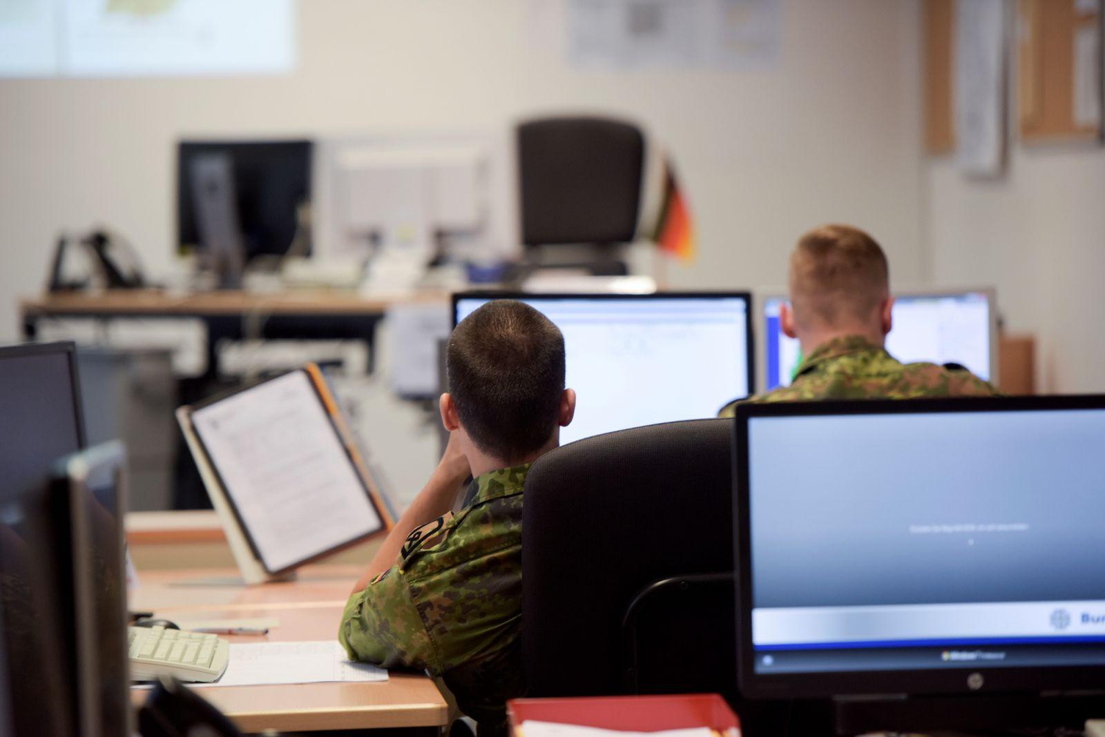 German armed forces Bundeswehr soldiers work at Bundeswehr Territorial Tasks Command in Berlin