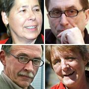Die vier ehemaligen RAF-Terroristen Inge Viett (l. oben), Karl-Heinz Dellwo, Peter-Jürgen Boock und Silke Maier-Witt: Bürgerliche Existenzen aufgebaut