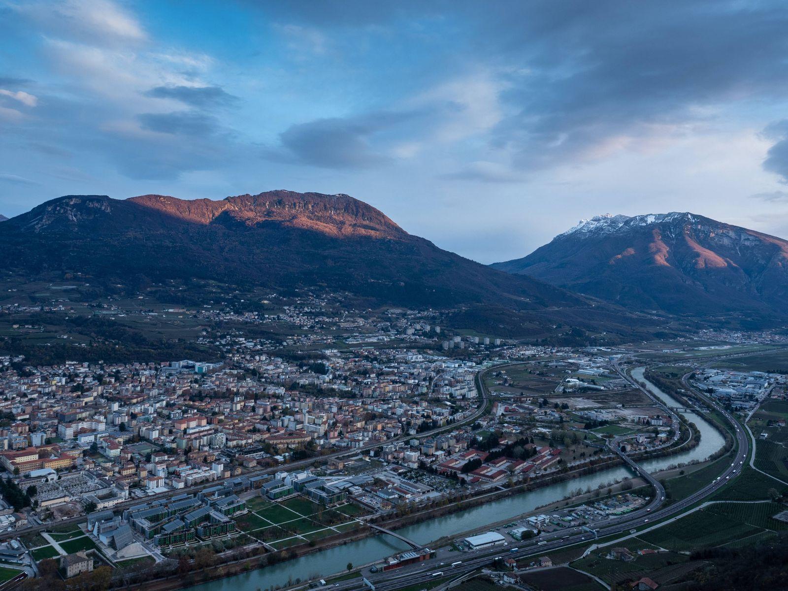 view o f Trento town and Duomo square from Sardagna viewpoin of Sardagna Trentino Italy Europe PU
