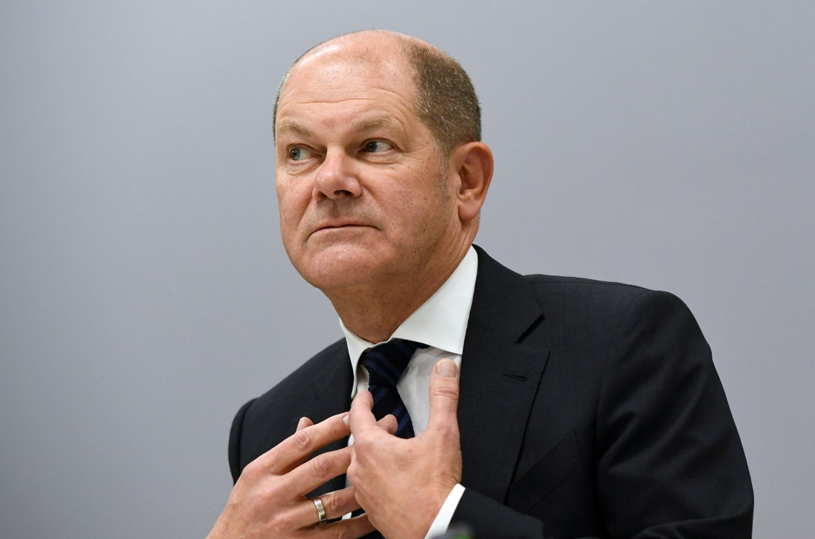 German Finance Minister Scholz speaks during an interview with Reuters in Berlin