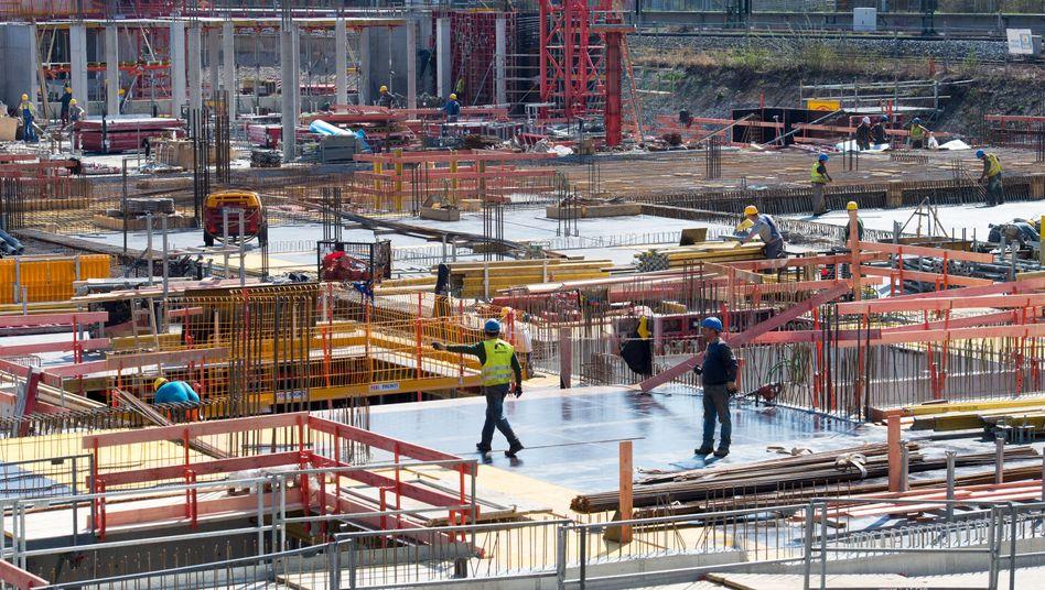 Arbeiter auf eine Baustelle in Bayern
