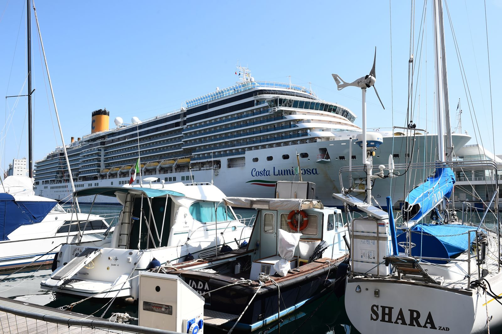 A view of the Costa Luminosa cruise ship that was hit by the coronavirus disease (COVID-19) as it is docked at the port of Savona, near Genoa