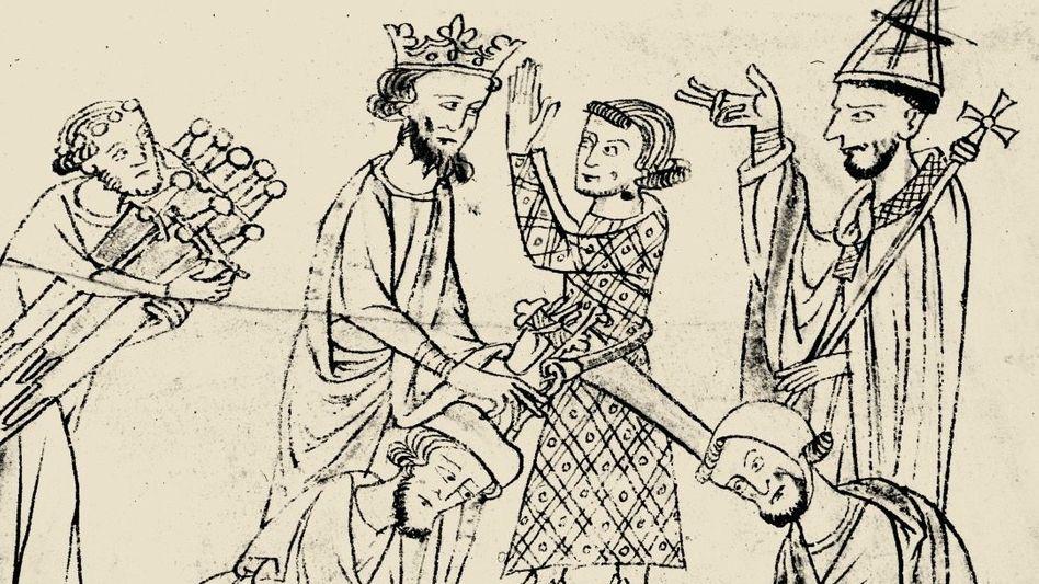 Roland wird zwischen König und Bischof von Knappen gegürtet (Buchmalerei, 13. Jahrhundert).