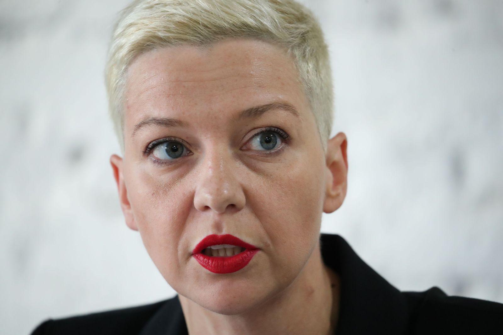 Belarus opposition member Maria Kolesnikova presser in Minsk - 11 Aug 2020