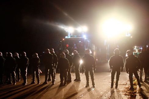 German riot police confronted activists along the route of the nuclear waste transport.
