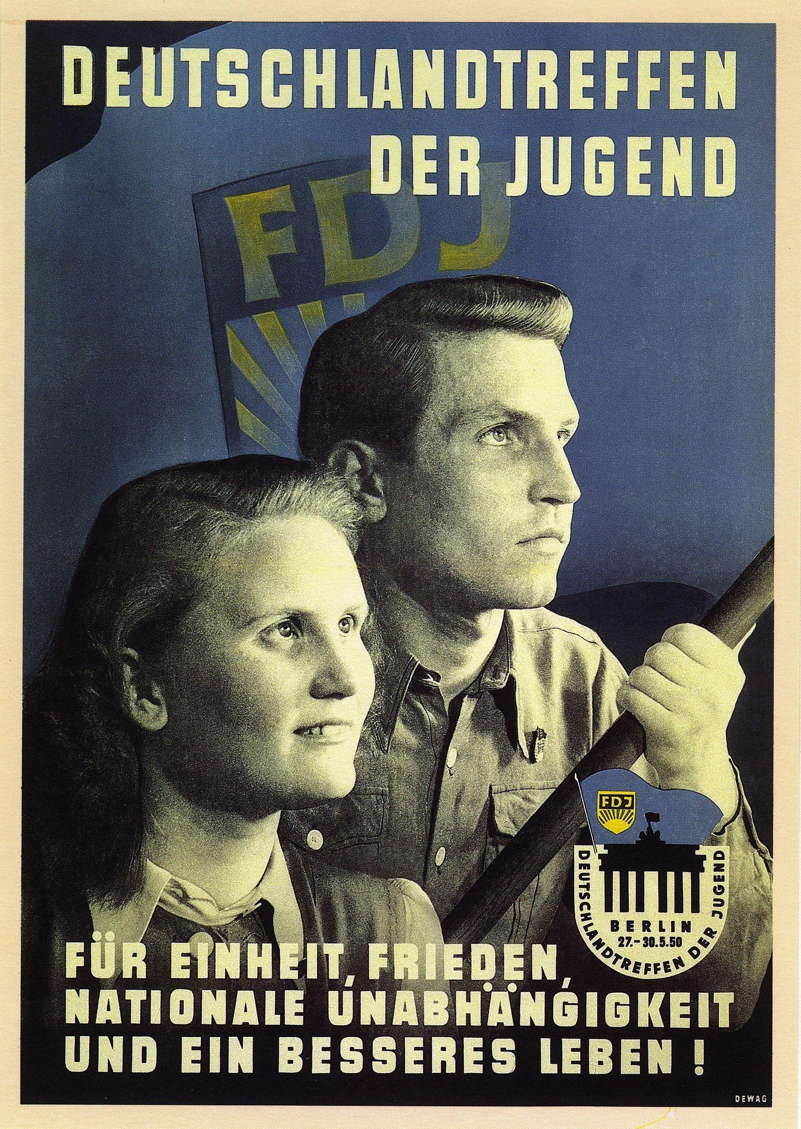 """Plakat zum ersten """"Deutschlandtreffen der Jugend"""" der FDJ in Berlin (Ost) vom 27. bis 30. Mai 1950"""