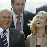 A fresh face: Foreign minister Frank-Walter Steinmeier and his proposed minister for family affairs, Manuela Schwesig, at the announcement of the SPD's shadow cabinet last week.