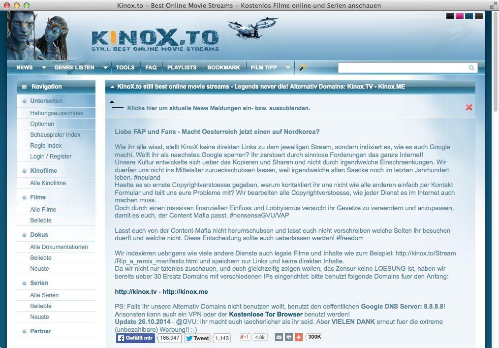 NUR ALS ZITAT Screenshot Kinox.to