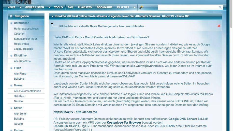 Screenshot der Website Kinox.to